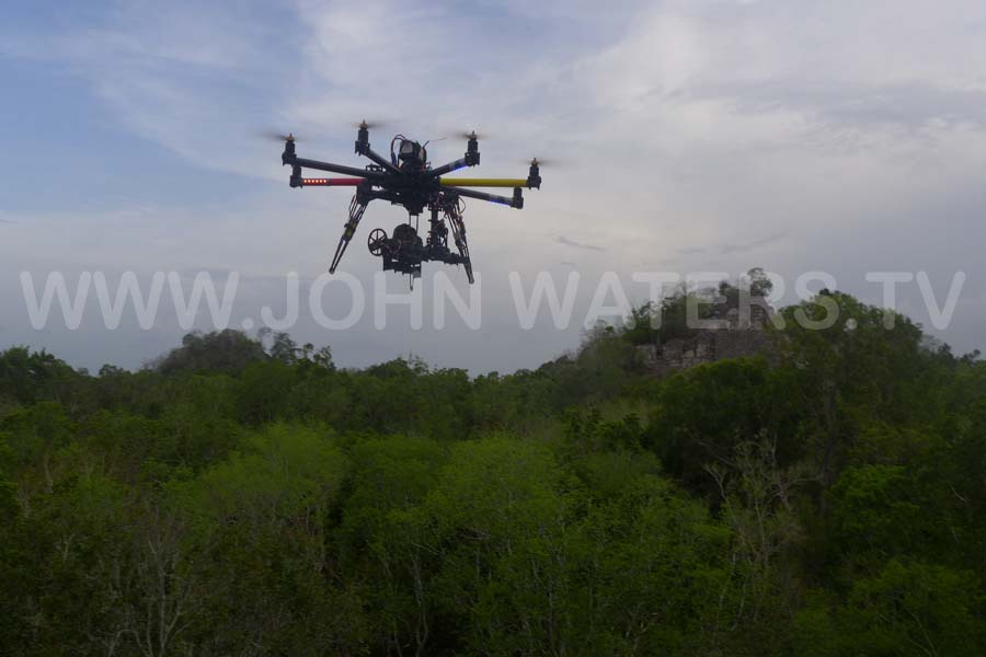 The octocopter in action over Mayan ruins of Calakmul, Mexico